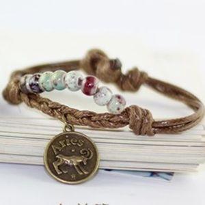 ARIES Zodiac Charm Beaded Braided Rope Bracelet